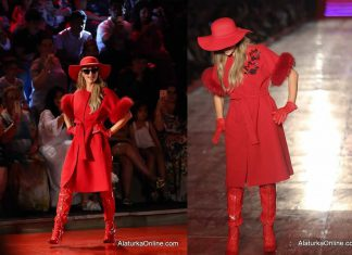 Paris Hilton almost falls during Dosso Dossi Fashion Show