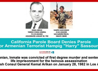 California Parole Board Denies Parole for Armenian Terrorist Hampig Harry Sassounian